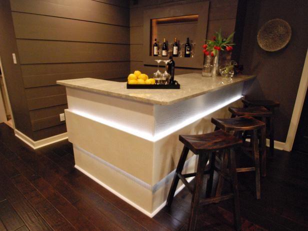 Basement Bar - nice in-panel lighting basement bar Pinterest