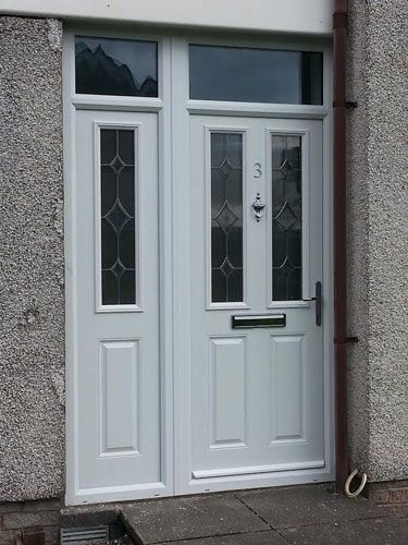 2 Panel 2 Square Crystal Diamond Composite Front Door In White With A  Composite Side Panel