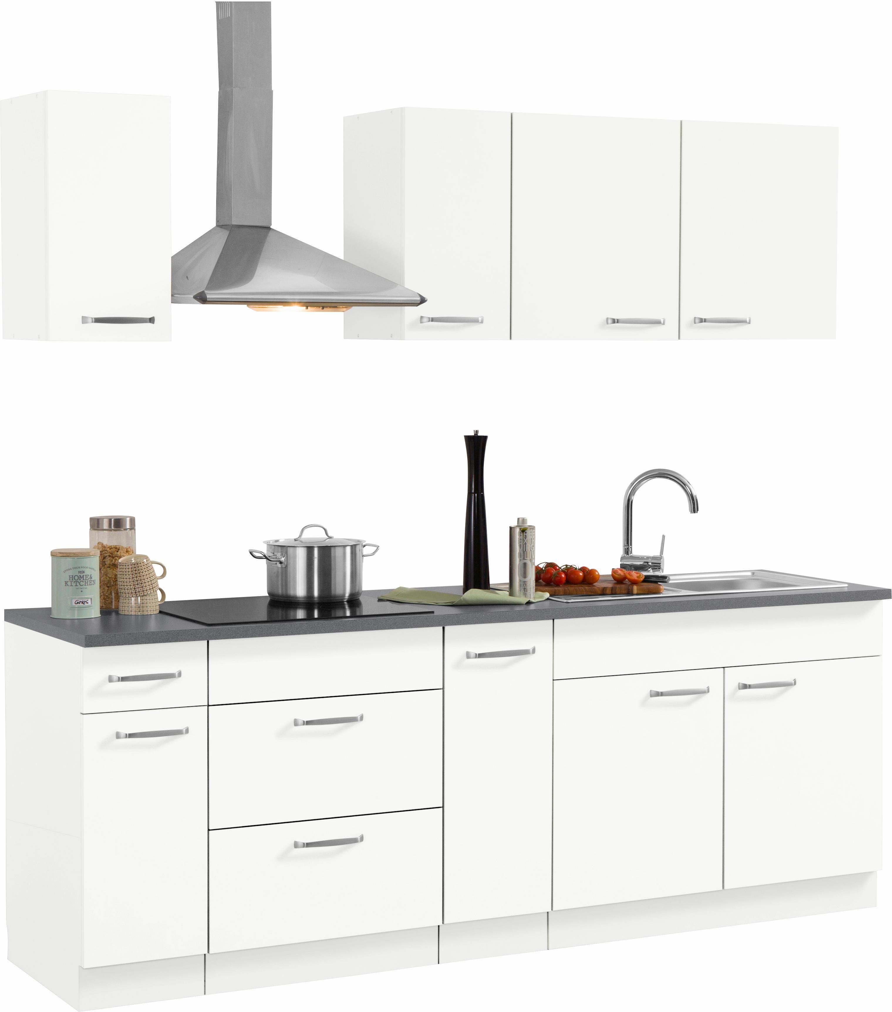 Küchen Küchenzeile ohne E-Geräte weiß, »Basel«, Soft-Close-Funktion ...
