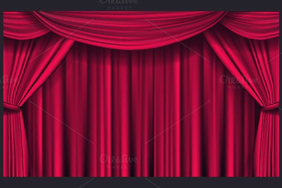Red Curtain Vector Illustration 일러스트레이션