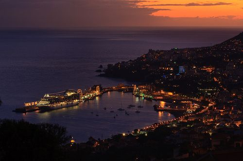 Night lights in the city of Funchal on the island of Madeira, Portugal.