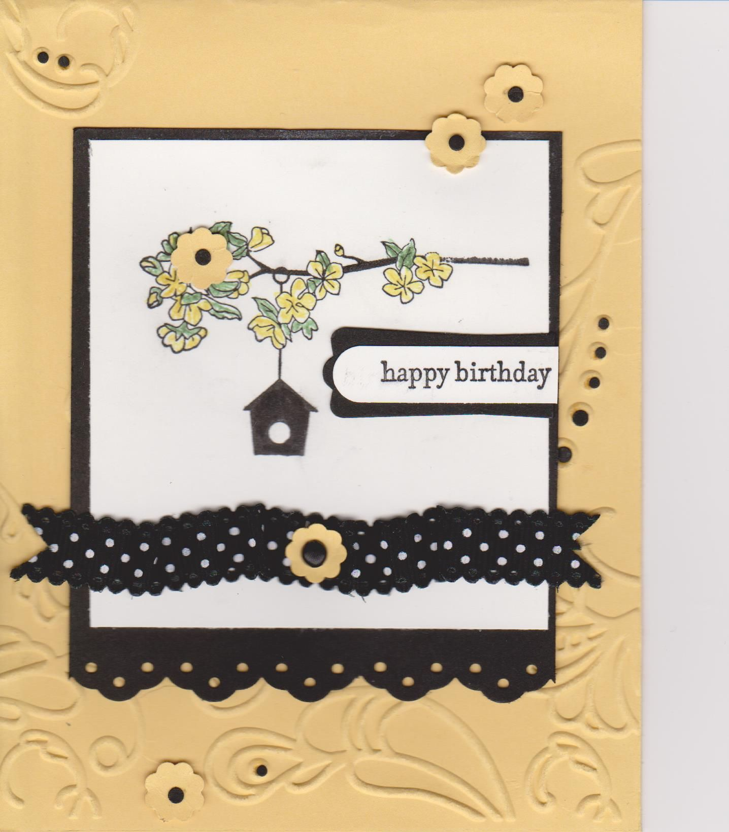 I love the mustard and black colours in this card from the stampin