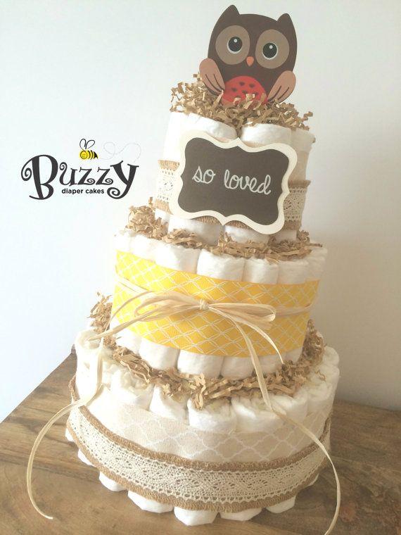 Owl Diaper Cake Decorations : So Loved, Owl Diaper Cake for Gender Neutral Baby Shower ...