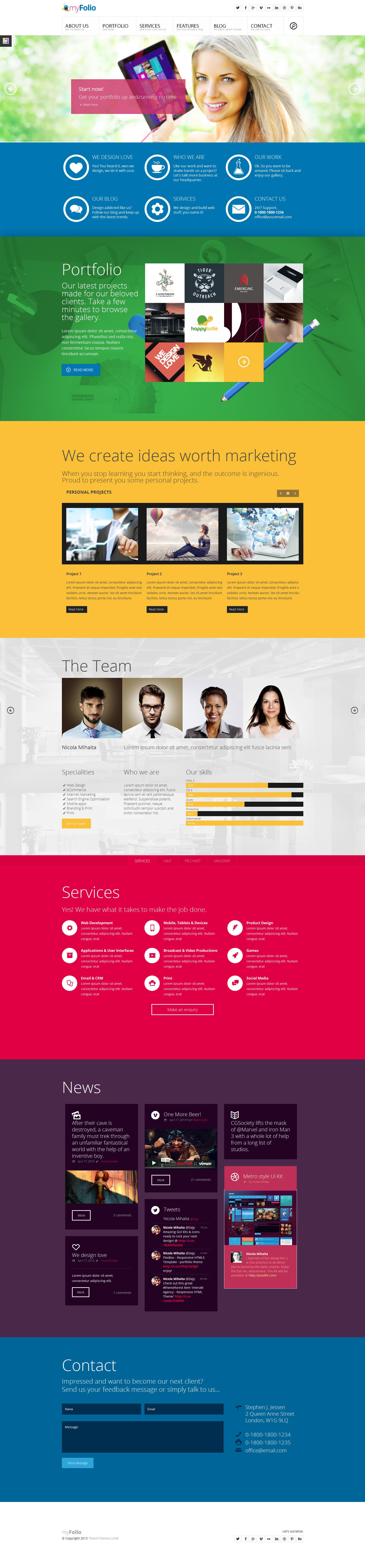 Myfolio Parallax Onepage Html5 Template By Dajydesigns Deviantart Com On Deviantart Web Design Programs Web Design News Web Design