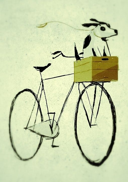 painting of dog in bicycle basket  --montana sweet pea