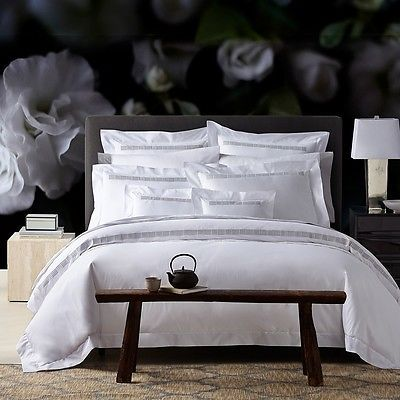 Pratesi Up Down Hotel King Duvet Cover White Grey Embroidery W318