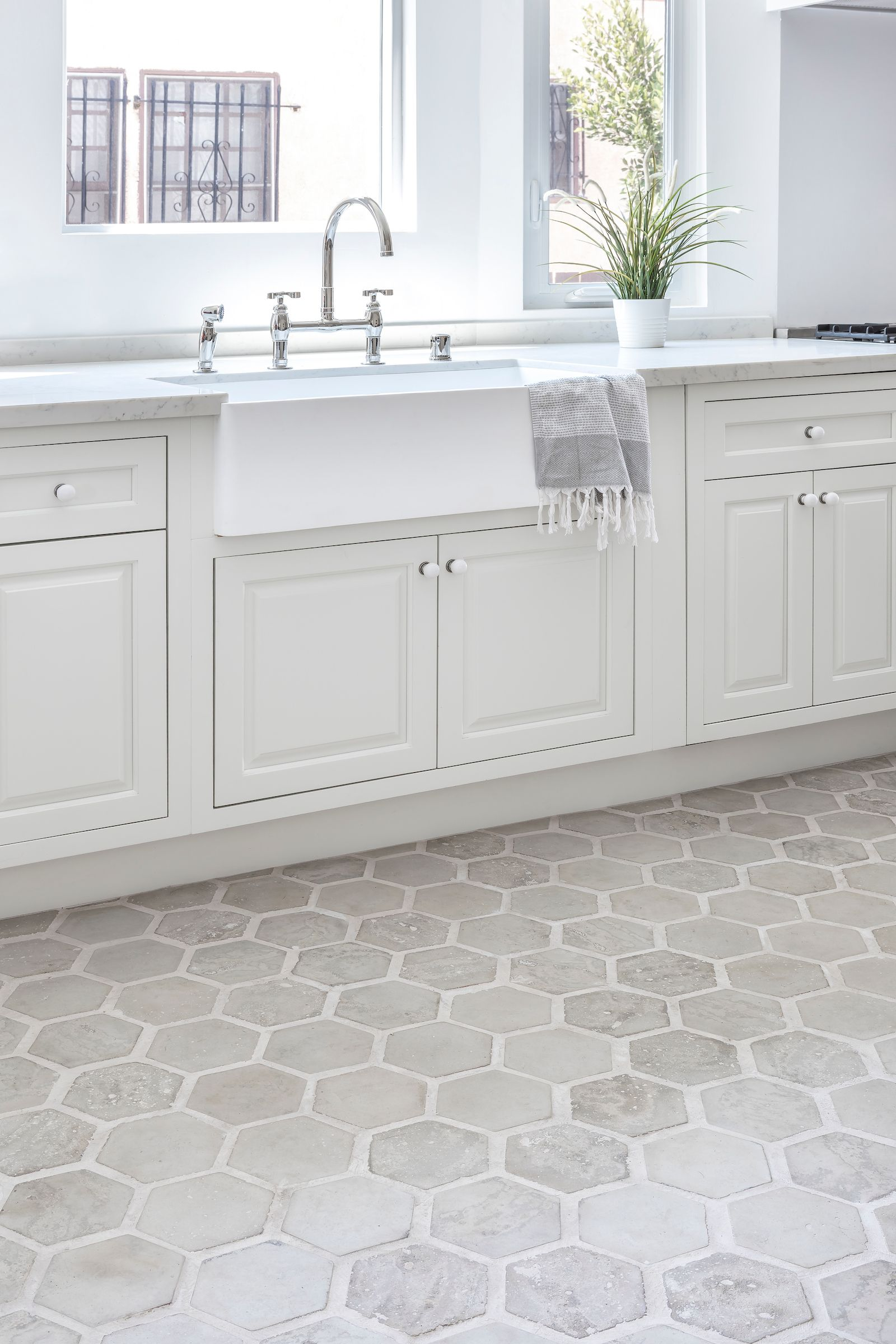 Light Gray Hexagon Concrete Flooring In This Neutral California
