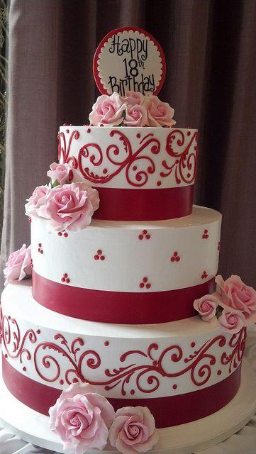 Red piping 18th birthday cake Womens Birthdays Pinterest 18th