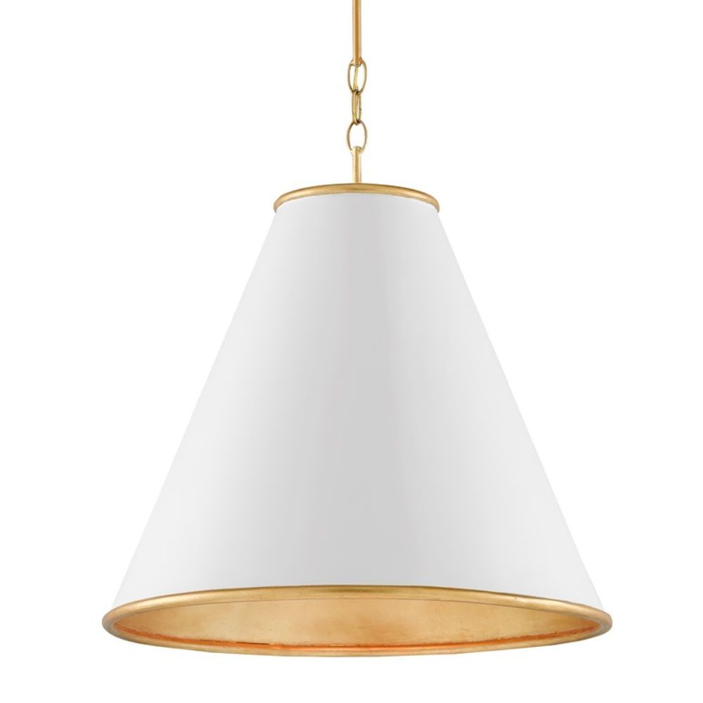 Currey Company 9000 0537 Pierrepont White Large Pendant In Painted Gesso White Contemporary Gold Leaf Painted Gold In 2021 Large Pendant Lighting Light Pendant Light Currey and company pendants