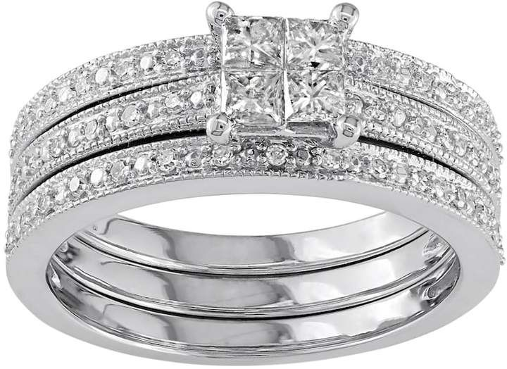 Stella Grace Diamond Engagement Ring Set In 10k White Gold 3 8 Carat T W Diamond Engagement Ring Set Engagement Ring Settings Bridal Engagement Rings