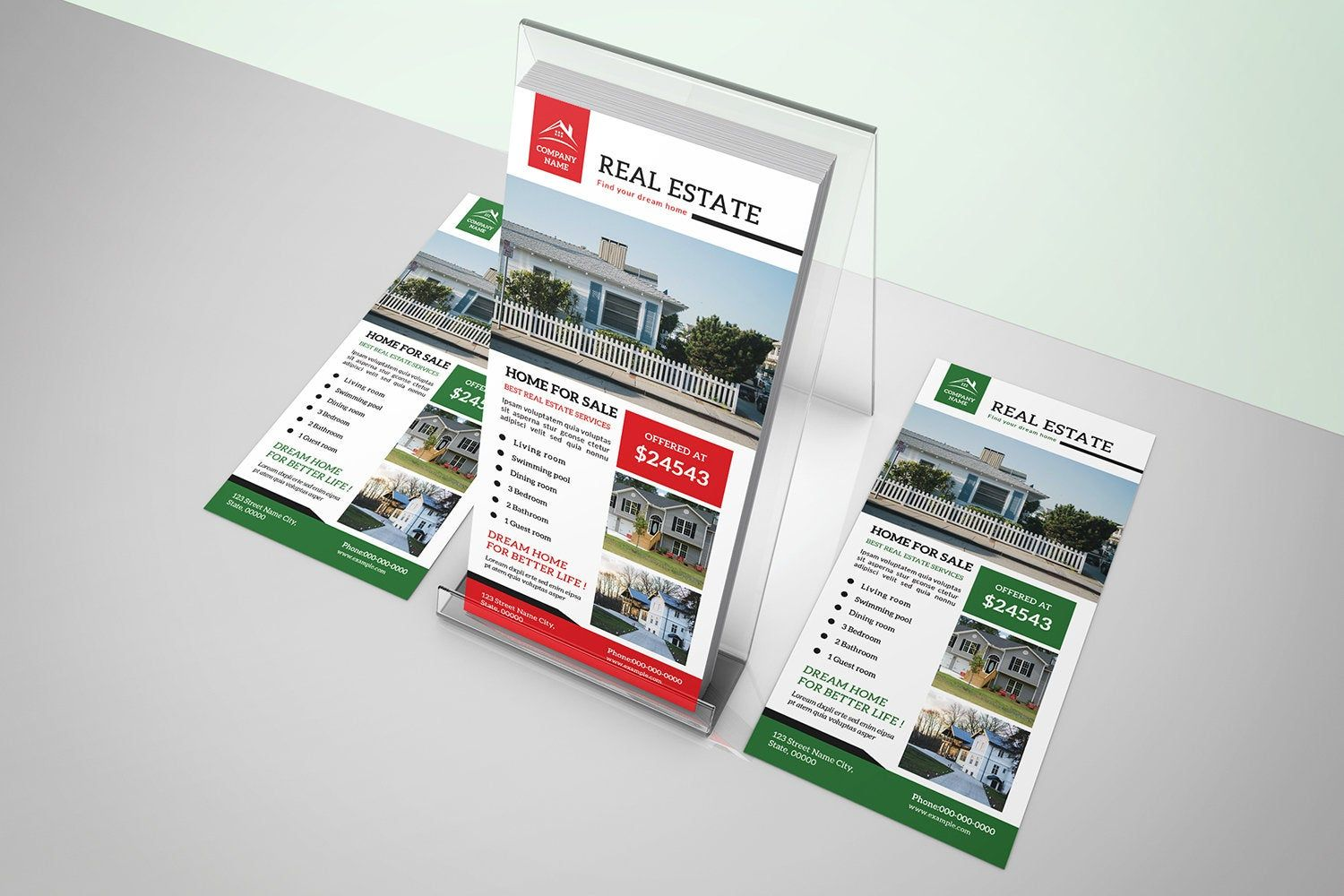 Real Estate Rack Card Template 4x9 In Photoshop Template Instant Download Flaery Remesla