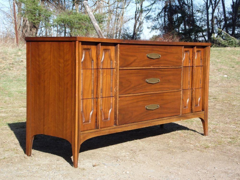 Danish Credenza Walnut : Vintage mid century danish modern dresser chest walnut bureau