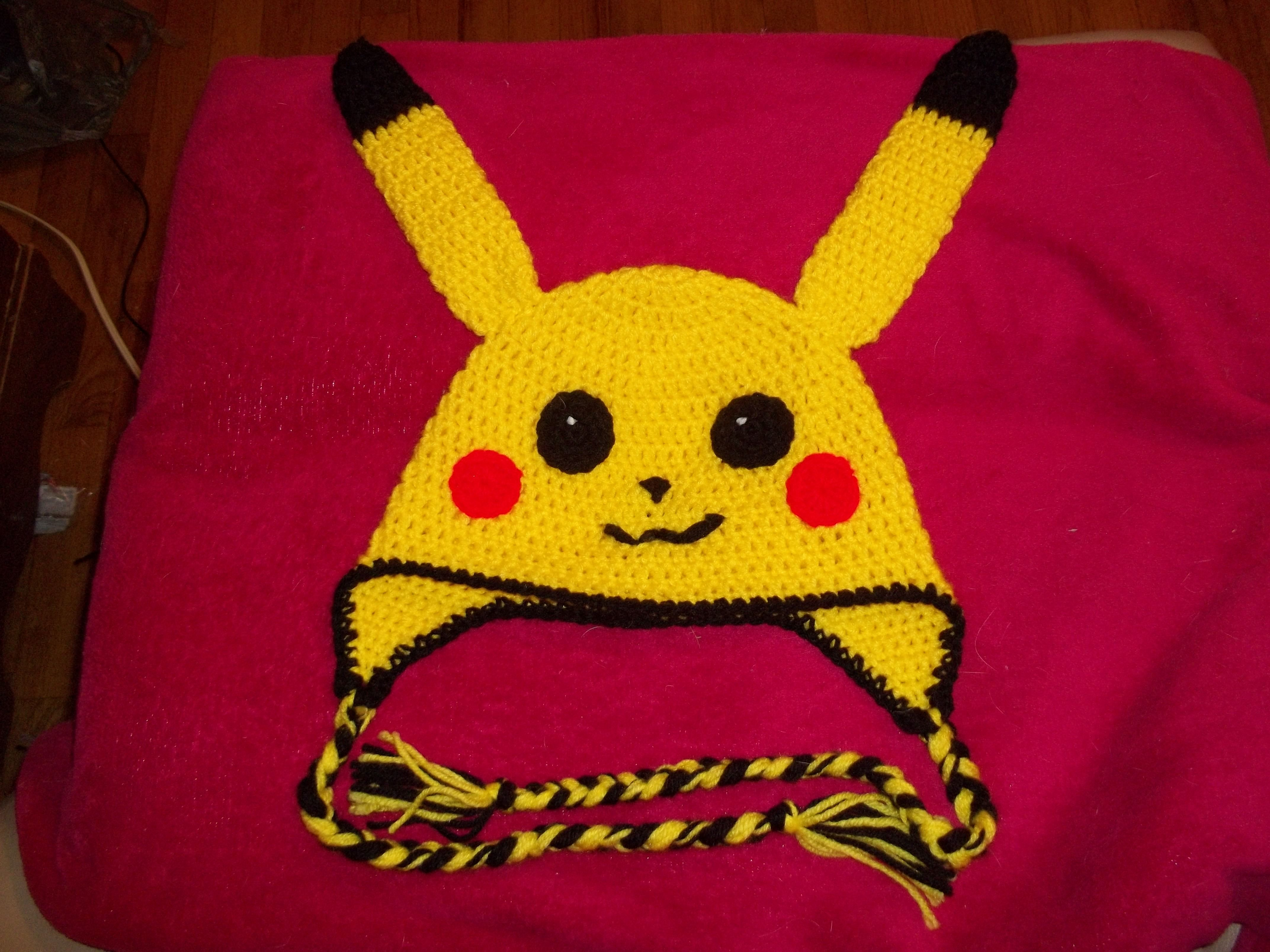 crochet pikachu hat. :) Used crochet puppy hat pattern for the hat ...
