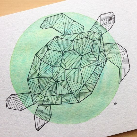 Geometric Turtle Swimming On Green Watercolor Circle Background