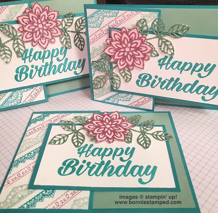 Love this time of year…Sale-a-bration 2017 just added 3 new items to it's promotion!!! On this particular card, I mixed the Delicate Details Stamp Set from the first release with the NEW 6×6 Glimmer Paper Assortment Pack from the second release! Have I mentioned, I love our glimmer paper? On page 175 of the Stampin' …