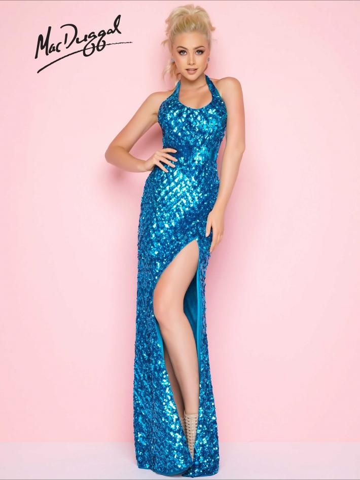 Halter Neck Sequined Prom Gown | Mac Duggal 4507L | HALTER NECK PROM ...