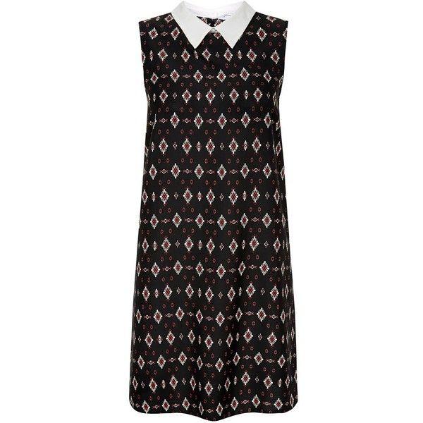 Black Contrast Collar Diamond Tile Print Tunic Dress (560 RUB) ❤ liked on Polyvore featuring dresses, vestidos, print dress, diamond dress, sleeveless print dress, mixed print dress and no sleeve dress