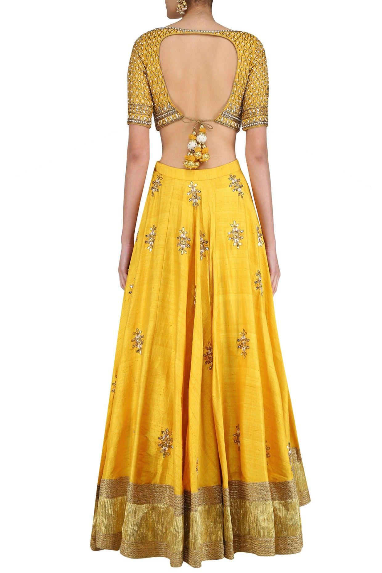 Off white gota patti embroidered blouse and yellow lehenga set