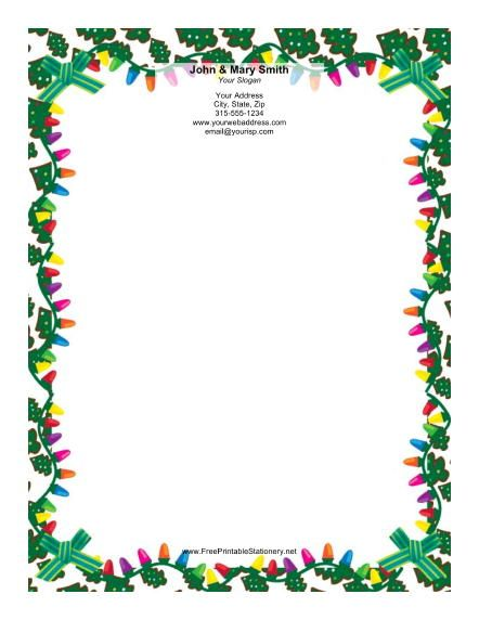This Christmas Stationery Design Features A Border Of Colorful