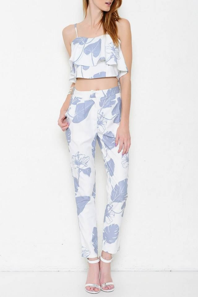 6db3a5ae95385 White tropical leaf floral print trousers fitted pants and crop top ...