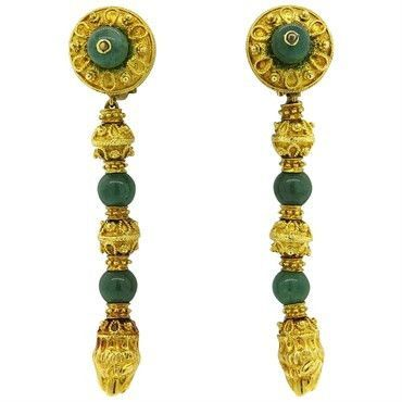 Impressive Greek Nephrite 18k Gold Chimera Long Drop Earrings