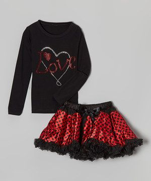 Love this Black 'Love' Tee & Red Polka Dot Pettiskirt - Toddler & Girls by So Girly & Twirly on #zulily! #zulilyfinds