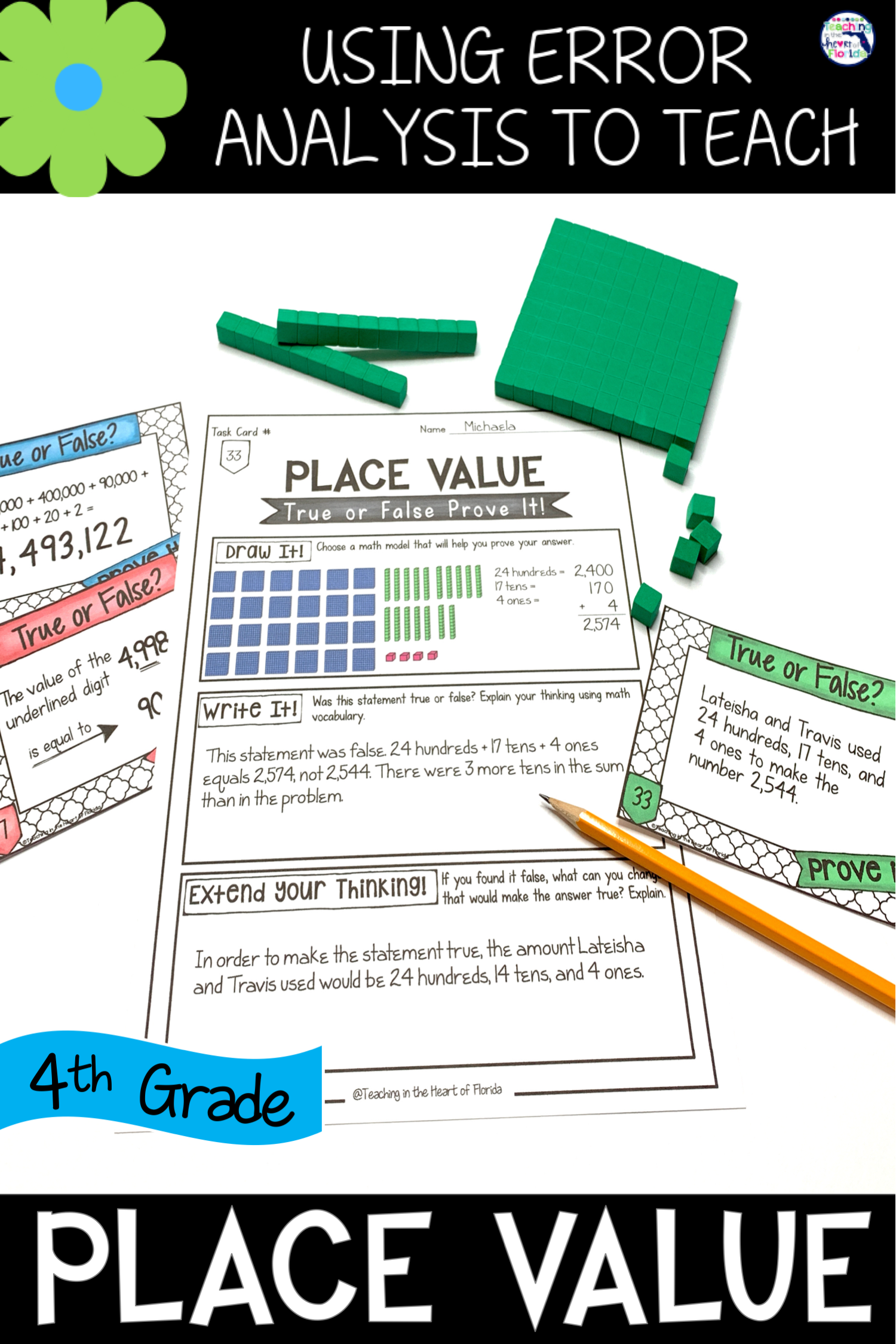 Place Value Task Cards Errorysis Math