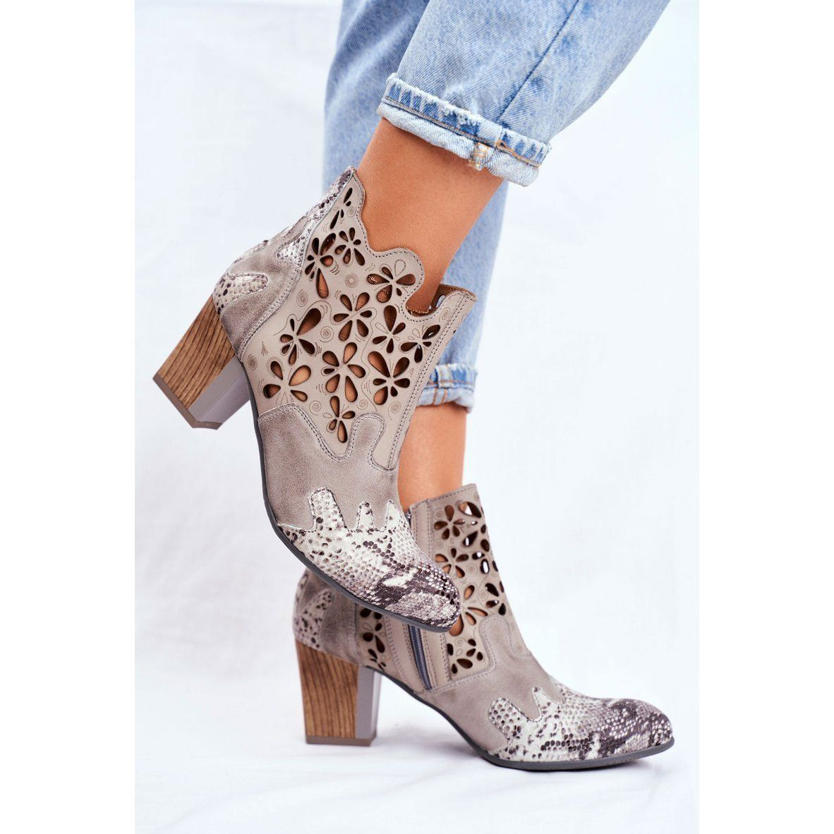 Botki Damskie Na Slupku Maciejka Wiosenne Popielate 04369 13 Bezowy Szare Fashion Ankle Boot Shoes