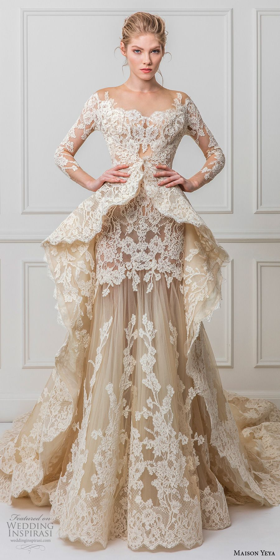 Maison Yeya 2017 bridal three quarter sleeves illusion jewel off the  shoulder full embellishment peplum ivory elegant glamourous lace a line  wedding dress ... b7a66425d