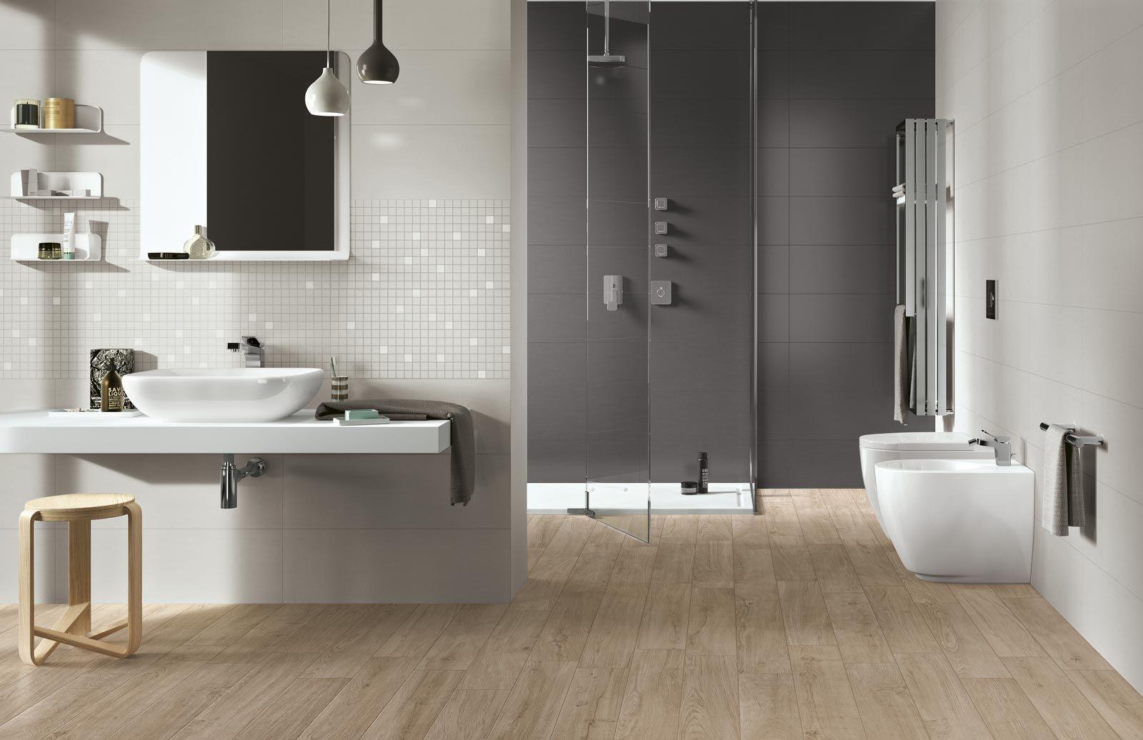 Woodpassion wood look stoneware floor tiles bathroom design