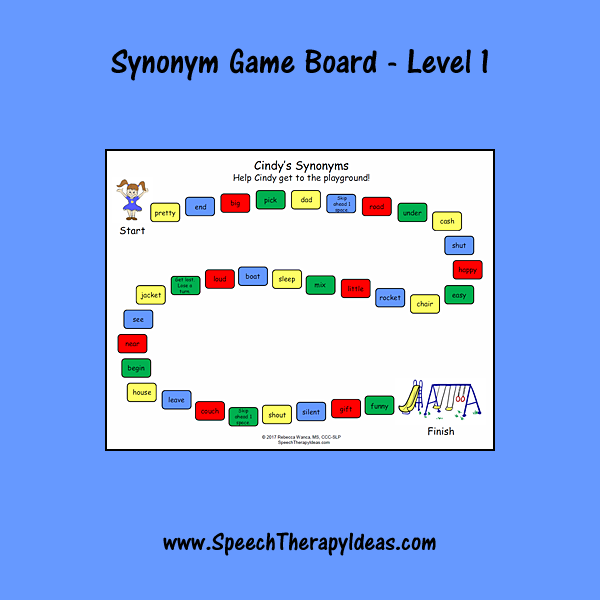 Synonym Game Board Level 1 Languagetherapy Language Therapy Activities Speech And Language Speech Therapy Games