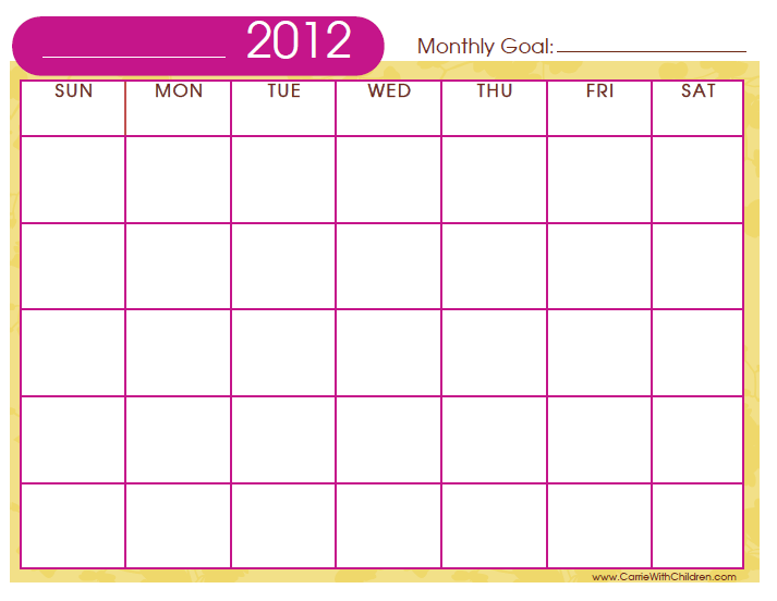 Diy Monthly Printable Calendar Template  Crafty