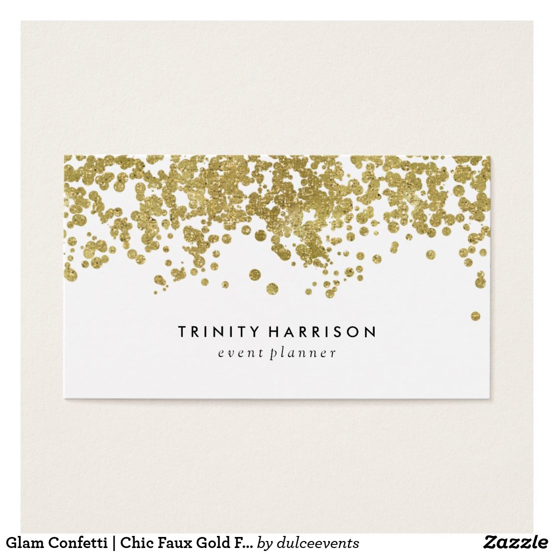 Glam Confetti Chic Faux Gold Foil Business Card Business Cards