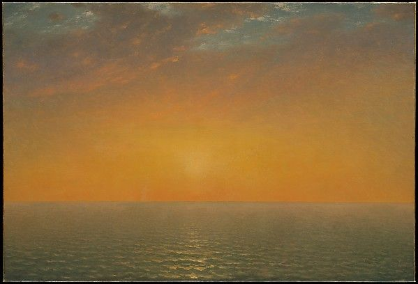 "John Frederick Kensett (American, Cheshire, Connecticut 1816–1872 New York). Sunset on the Sea, 1872. The Metropolitan Museum of Art, New York. Gift of Thomas Kensett, 1874(74.3) | This work is exhibited in the ""Unfinished: Thoughts Left Visible"" exhibition, on view through September 4, 2016."