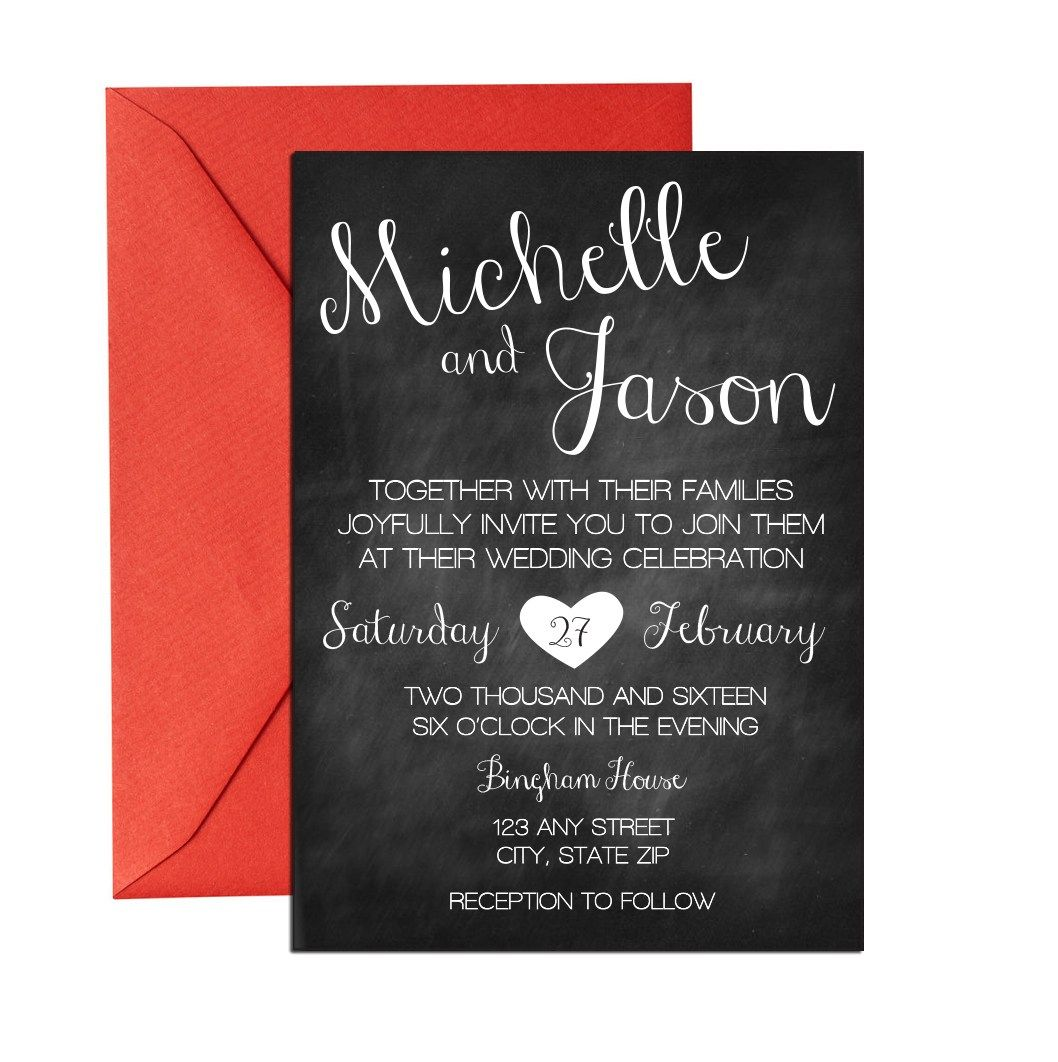 Chalkboard Cursive Wedding Invite. Click through to find matching ...