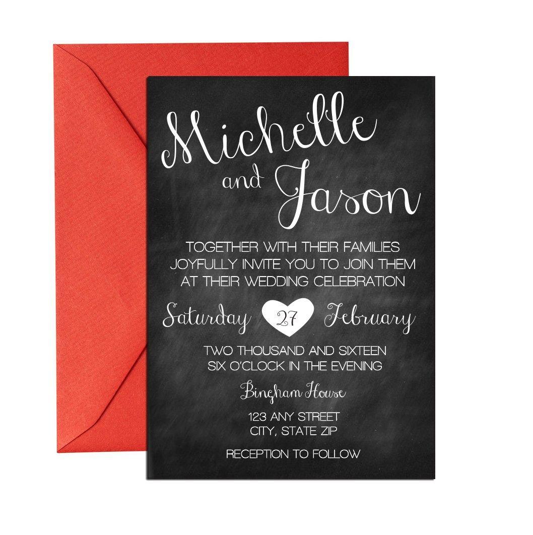 Chalkboard Cursive Wedding Invite. Click through to find matching ...