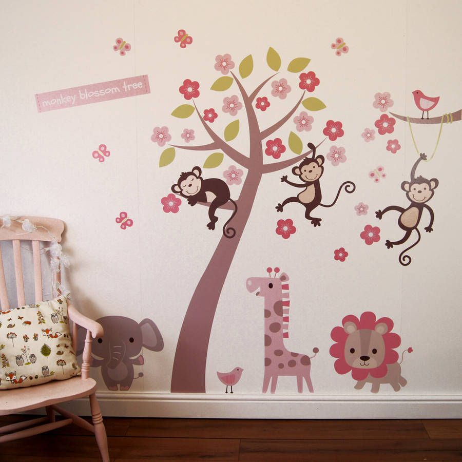 Pastel blossom tree with animals wall sticker trees an and pastel pastel blossom tree with animals wall sticker amipublicfo Choice Image