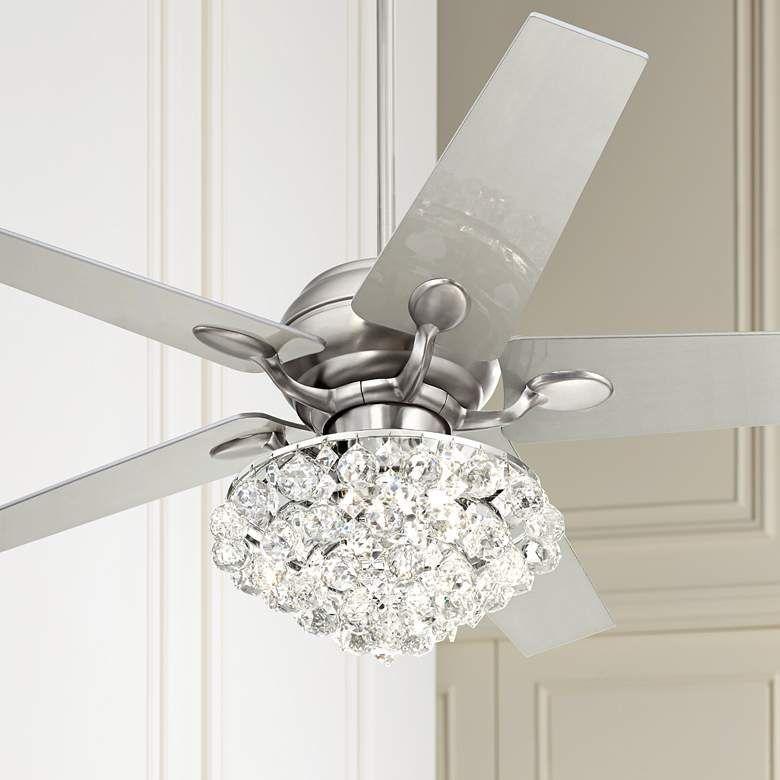 """Details about 42"""" Gold LED Invisible Ceiling Fan Light Modern Crystal Chandelier Lamp wRemote"""