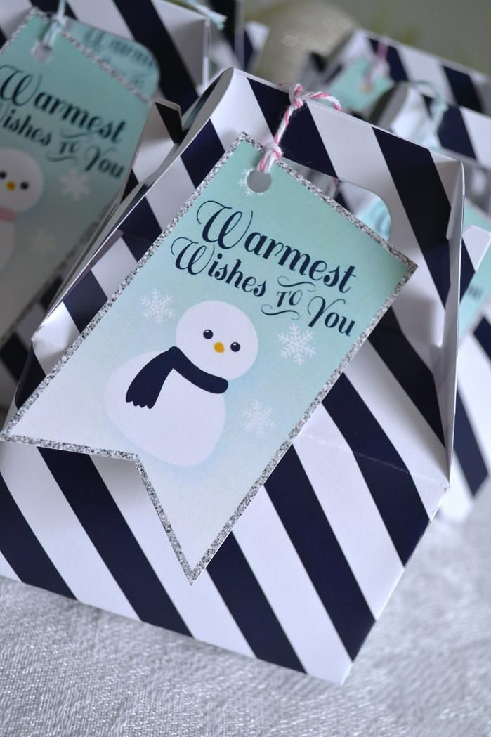 Favor bags. Winter Wonderland Party with Such Cute Ideas via Kara's Party Ideas KarasPartyIdeas.com #HolidayParty #ChristmasParty #SnowmanParty #WinterP...