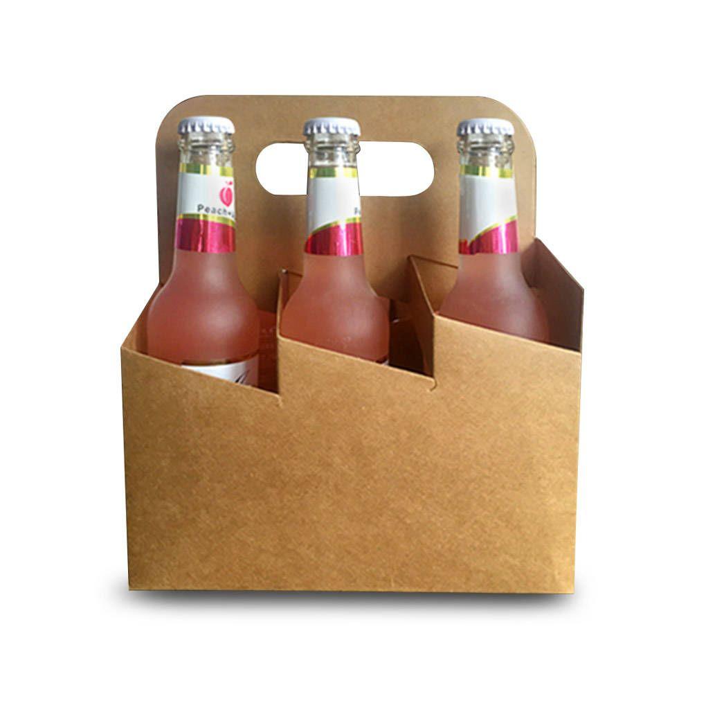 10 Pcs 6 Pack Bottle Carrier Kraft Paper Beer Packaging Wedding Party Favors Beer Packaging Bottle Carrier Bottle