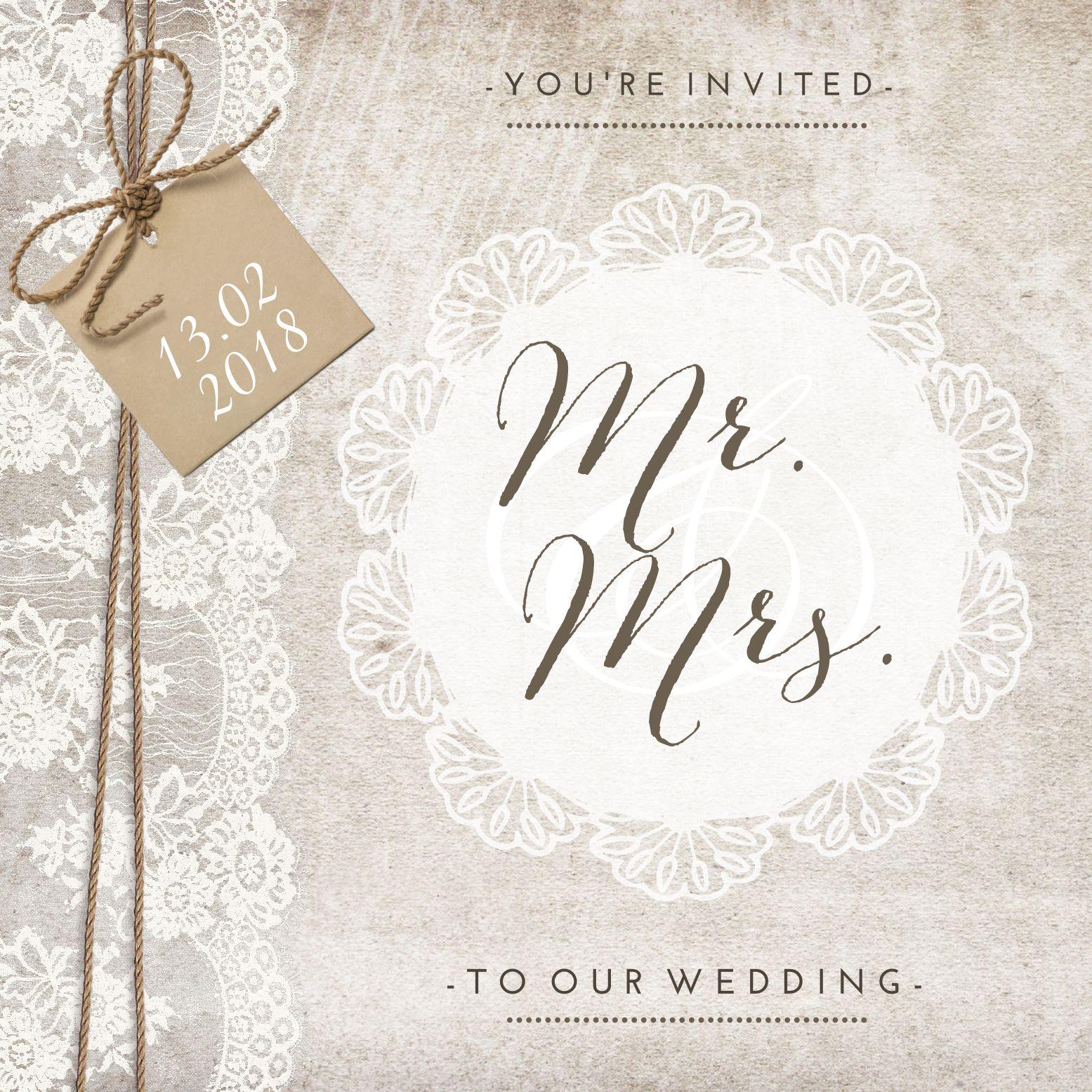Hedendaags Vintage wedding card met sierlijke typografie en kant (met TJ-56