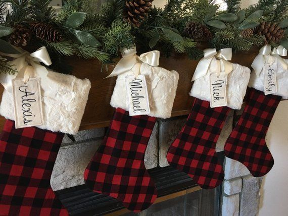 Plaid Christmas stocking,Christmas stocking, personalized Christmas