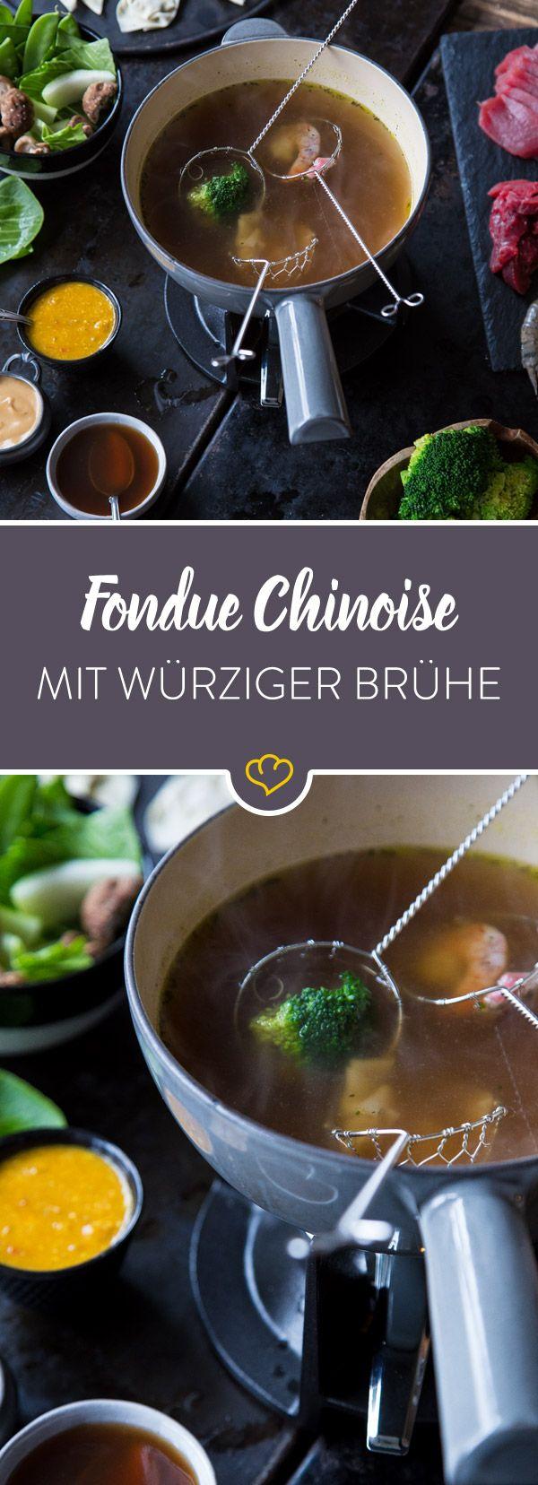 Alles andere als fettig: Buntes Fondue chinoise #fondue