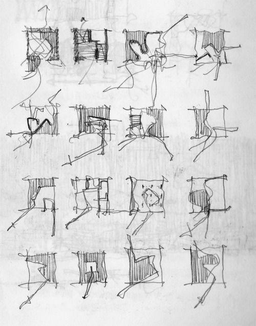Fabio Alessandro Fusco, Häuser. 2012. Bleistift. Bei der Suche nach Form oder Inhalt ... #architektonischepräsentation