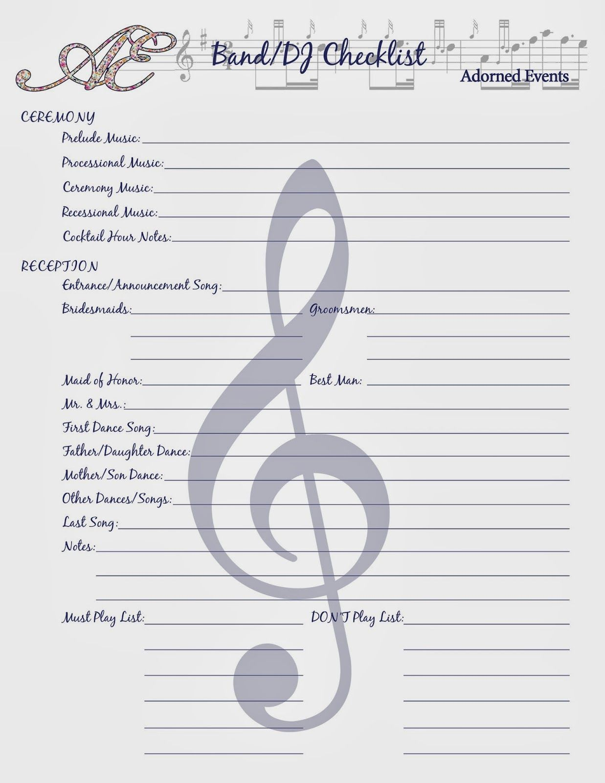 Keep Your Wedding Plans In Order With This Handy Dj Band Checklist Free Wedding Planning