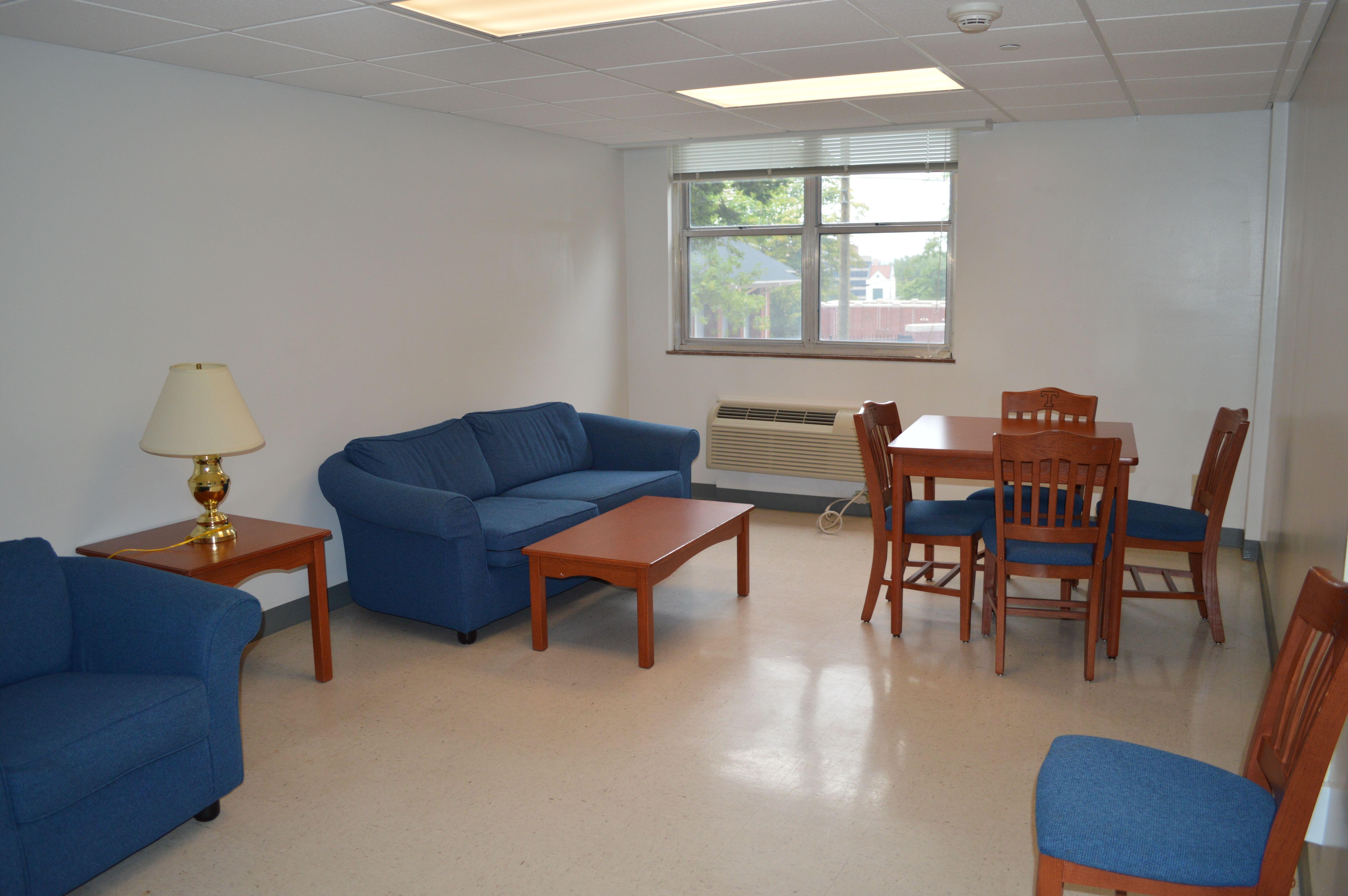 Laurel Residence Hall apartment empty living room | Dorm