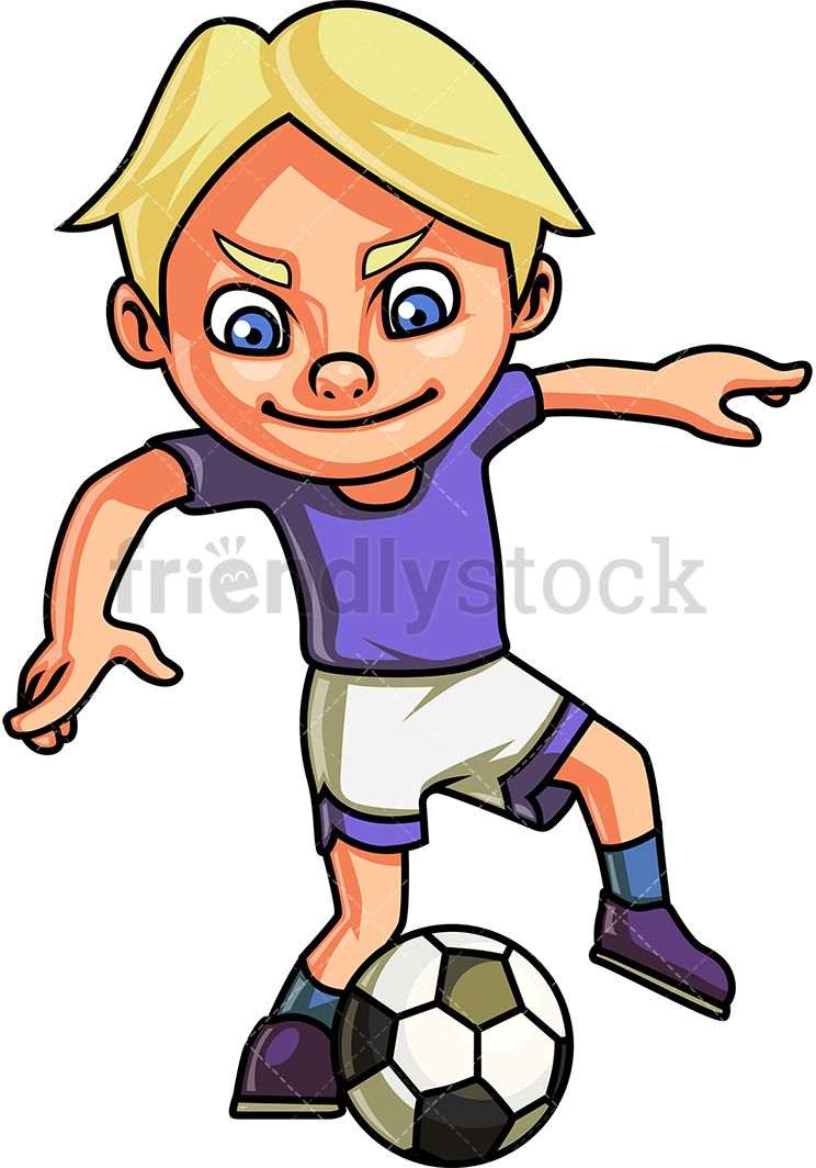 Little Boy Playing Soccer Cartoon Clipart Vector Friendlystock Football Kids Sport Illustration Kids Clipart