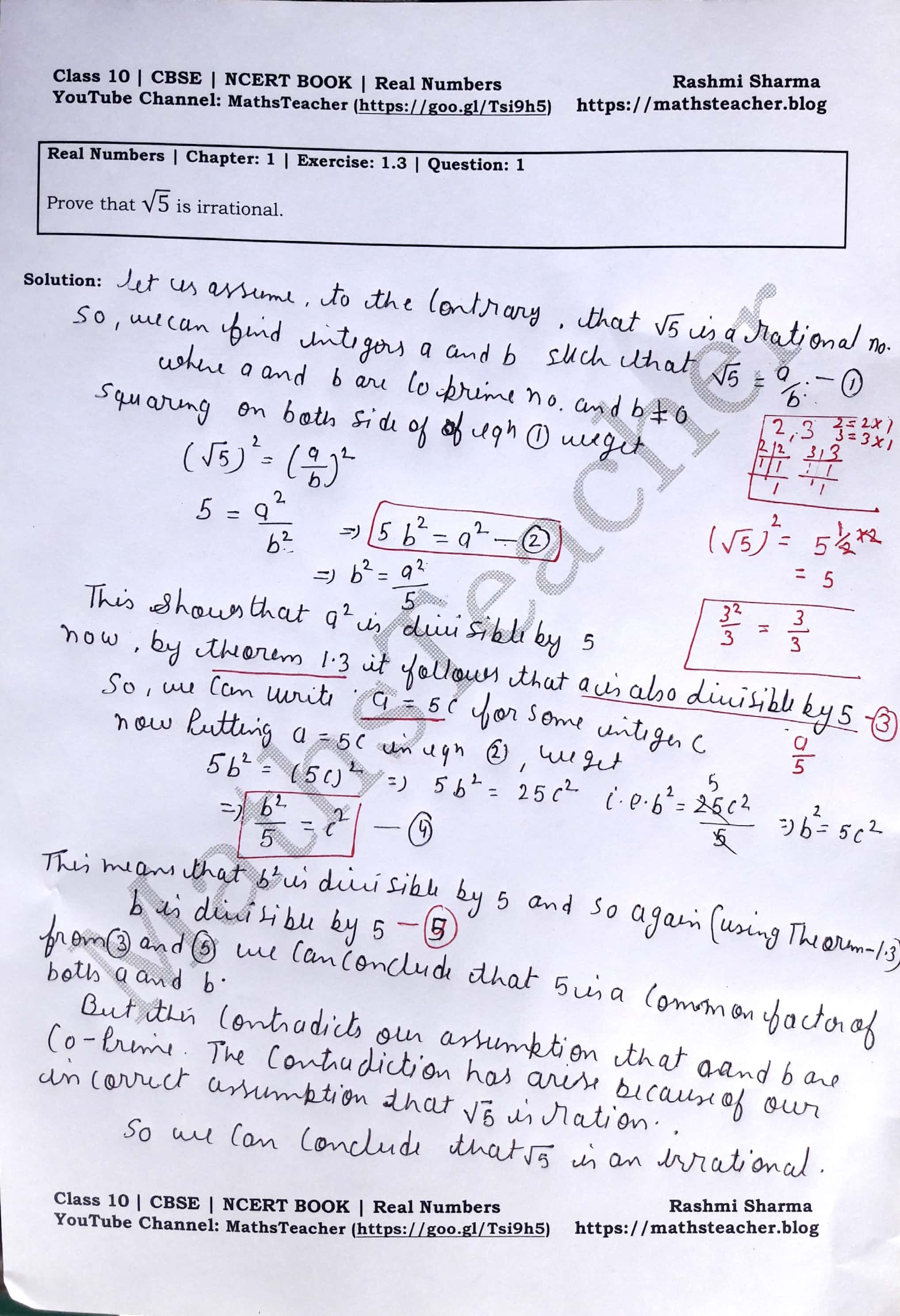 Ncert Solutions Class 10 Maths Real Numbers Chapter 1 Exercise 1 3 Question 1 Mathsteacher Math Real Numbers Quadratics [ 2976 x 2036 Pixel ]