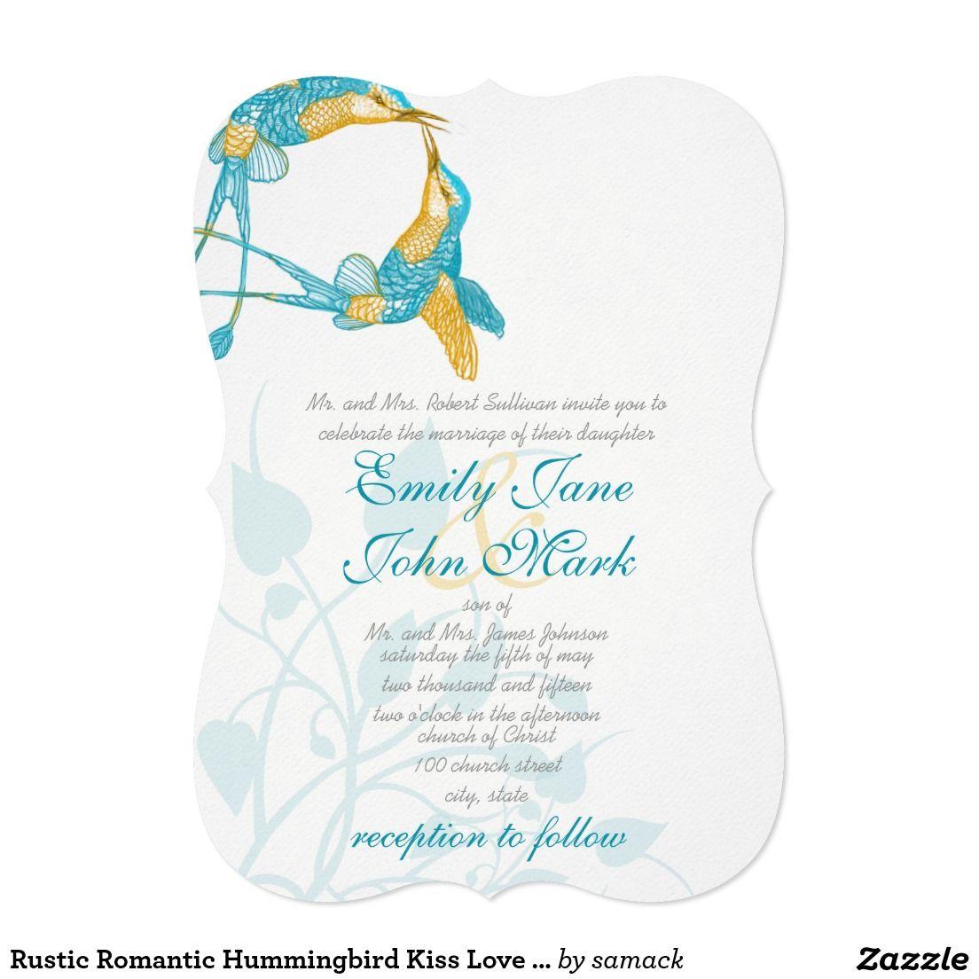 Rustic Romantic Hummingbird Kiss Love Bird Wedding Card ...