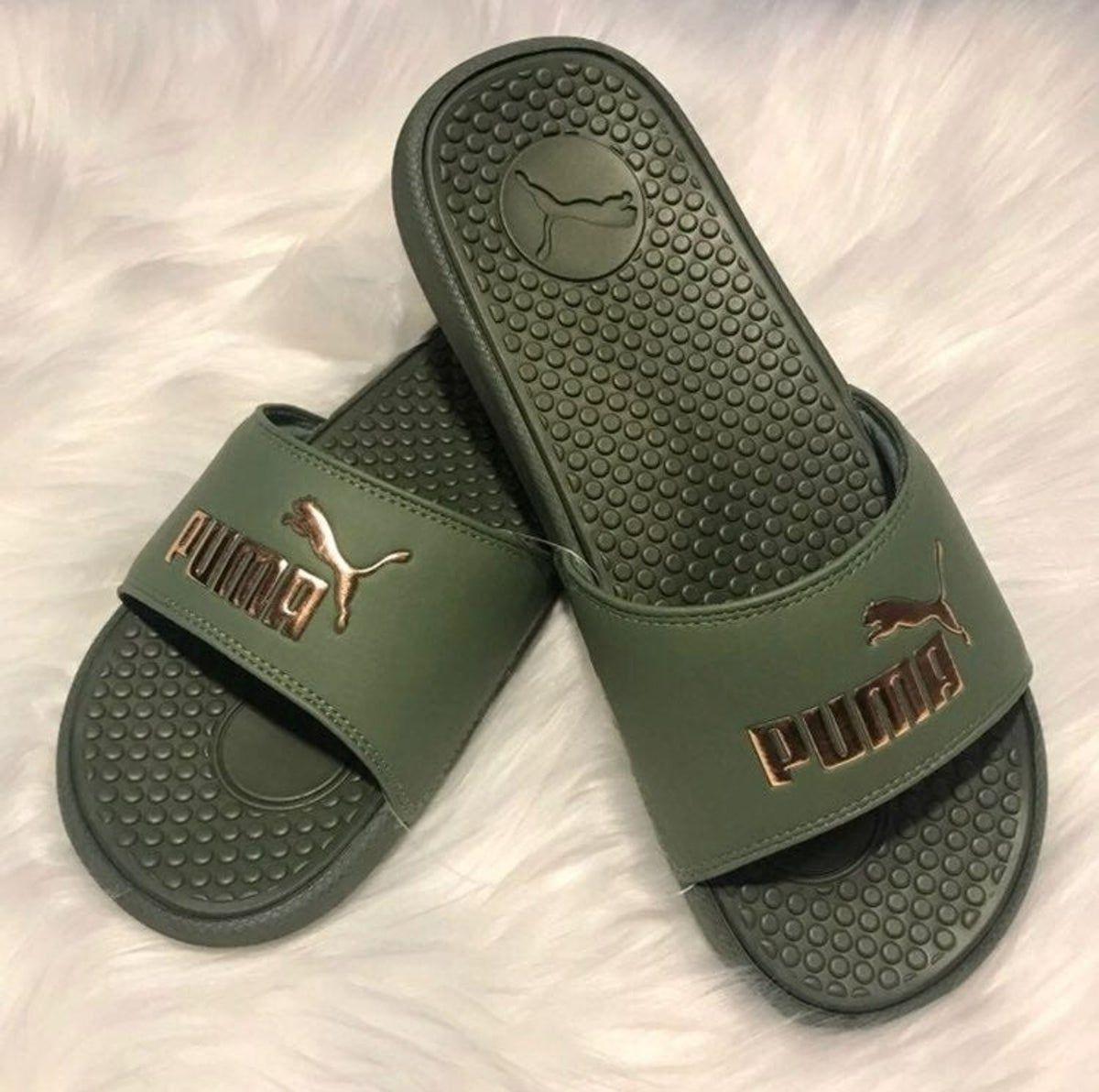 Puma Slides Green \u0026 Gold | Green puma
